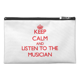 Keep Calm and Listen to the Musician Travel Accessory Bags