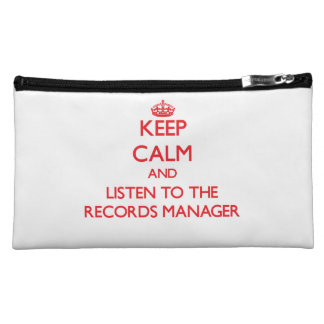 Keep Calm and Listen to the Records Manager Cosmetics Bags