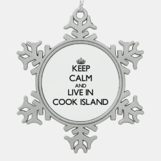 Keep Calm and Live In Cook Island Snowflake Pewter Christmas Ornament