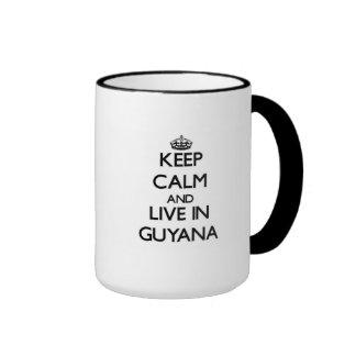 Keep Calm and Live In Guyana Ringer Mug