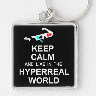 Keep calm and live in the hyperreal world key ring