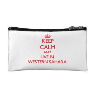 Keep Calm and live in Western Sahara Makeup Bag