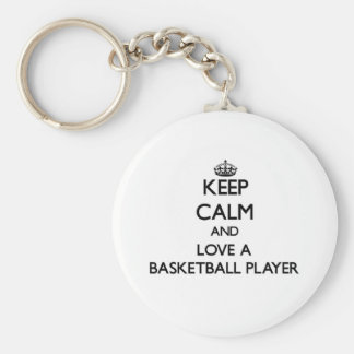 Keep Calm and Love a Basketball Player Basic Round Button Key Ring