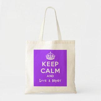 Keep calm and love a brony - purple tote bag