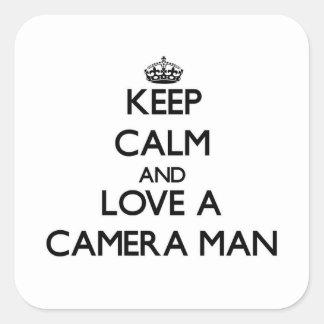 Keep Calm and Love a Camera Man Square Sticker