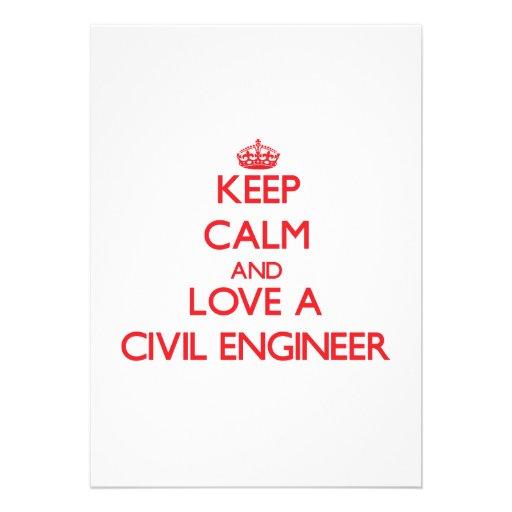Keep Calm and Love a Civil Engineer Cards