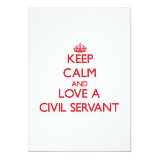 """Keep Calm and Love a Civil Servant 5"""" X 7"""" Invitation Card"""
