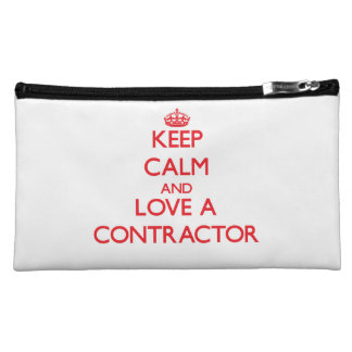 Keep Calm and Love a Contractor Cosmetic Bags
