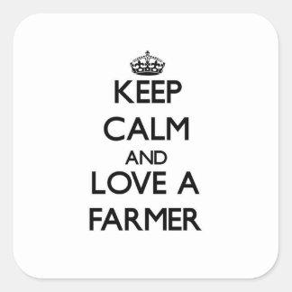 Keep Calm and Love a Farmer Square Sticker