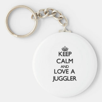 Keep Calm and Love a Juggler Basic Round Button Key Ring
