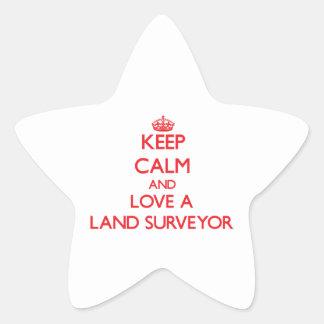 Keep Calm and Love a Land Surveyor Star Stickers