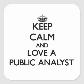Keep Calm and Love a Public Analyst Square Sticker