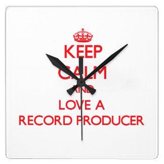 Keep Calm and Love a Record Producer Wallclocks