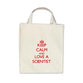 Keep Calm and Love a Scientist Canvas Bags