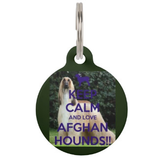 keep calm and love afghan hounds dog tag