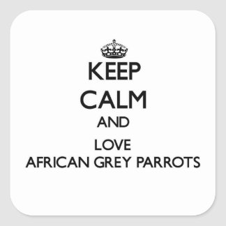 Keep calm and Love African Grey Parrots Square Sticker