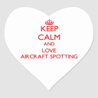 Keep calm and love Aircraft Spotting Heart Stickers