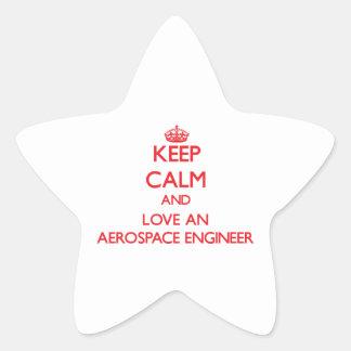 Keep Calm and Love an Aerospace Engineer Star Sticker