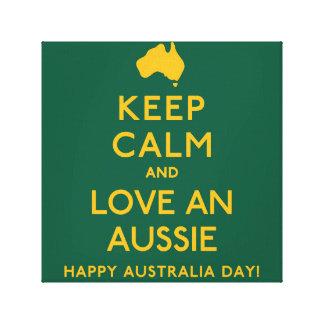 Keep Calm and Love an Aussie! Canvas Print