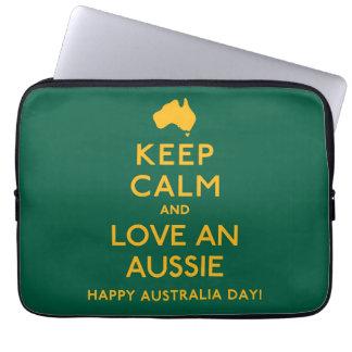Keep Calm and Love an Aussie! Computer Sleeves