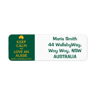 Keep Calm and Love an Aussie! Return Address Label