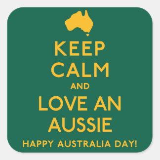 Keep Calm and Love an Aussie! Square Sticker