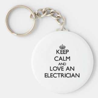 Keep Calm and Love an Electrician Basic Round Button Key Ring