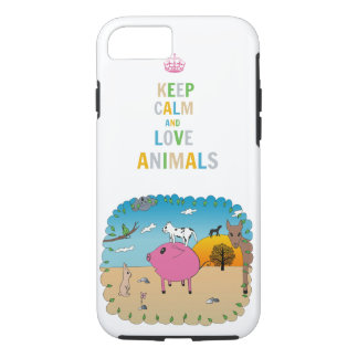 Keep calm and love animals! iPhone 7 case
