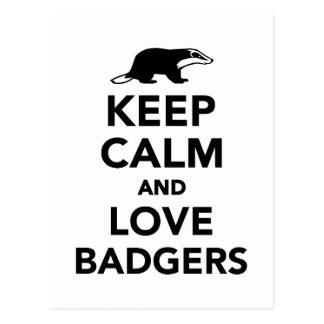 Keep calm and love badgers postcard