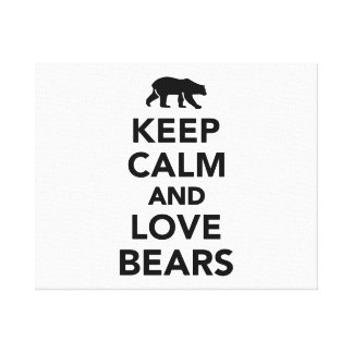 Keep calm and love bears gallery wrapped canvas