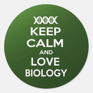 Keep Calm and Love Biology Round Sticker
