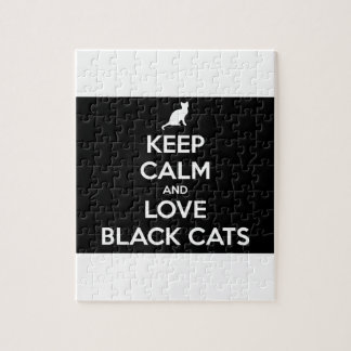 Keep Calm and Love Black Cats Jigsaw Puzzle