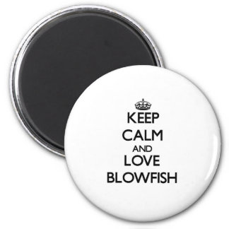 Keep calm and love Blowfish 6 Cm Round Magnet