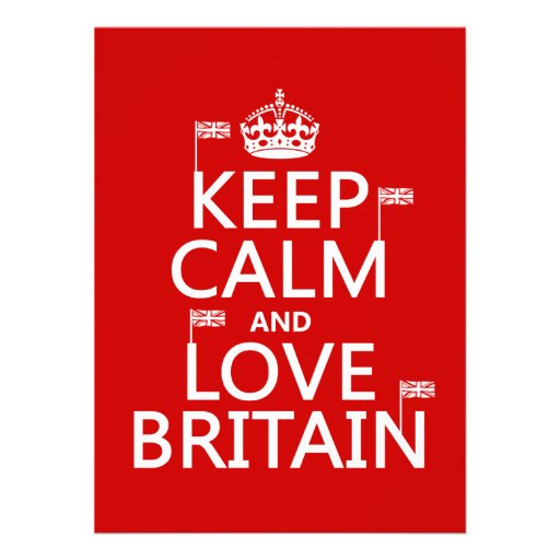 Keep Calm and Love Britain (customizable colors) Invites