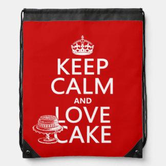 Keep Calm and Love Cake Drawstring Backpacks