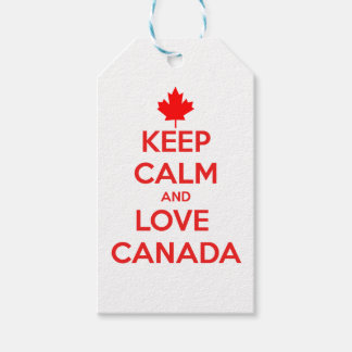 KEEP CALM AND LOVE CANADA GIFT TAGS
