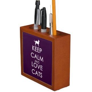 Keep Calm and Love Cats Desk Organiser