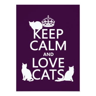 Keep Calm and Love Cats (in any colour) Card