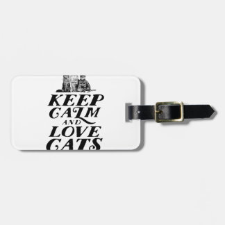 Keep calm and love cats luggage tag