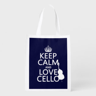 Keep Calm and Love Cello (any background color) Reusable Grocery Bag