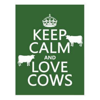 Keep Calm and Love Cows (all colours) Postcard