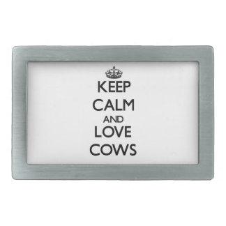 Keep calm and Love Cows Rectangular Belt Buckle