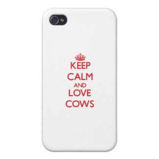 Keep calm and love Cows iPhone 4 Cover