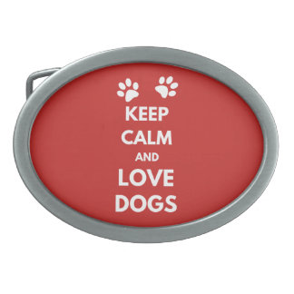 Keep calm and love dogs belt buckle