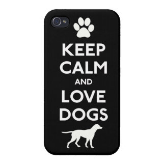 Keep calm and love Dogs Cases For iPhone 4