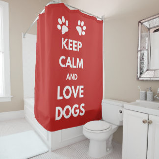 Keep calm and love dogs shower curtain