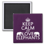 Keep Calm and Love Elephants (any color) Refrigerator Magnets
