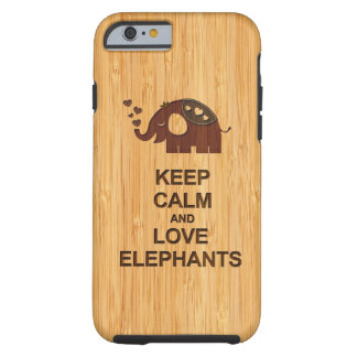 Keep Calm and Love Elephants Bamboo Look Pattern Tough iPhone 6 Case