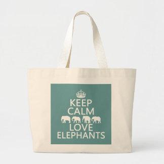 Keep Calm and Love Elephants customizable colors Canvas Bags