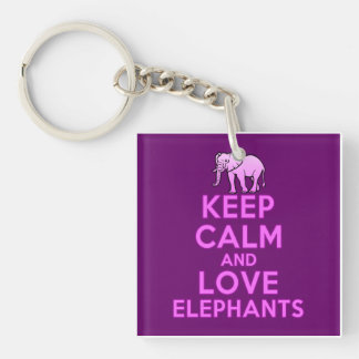 Keep Calm and Love Elephants Key Ring